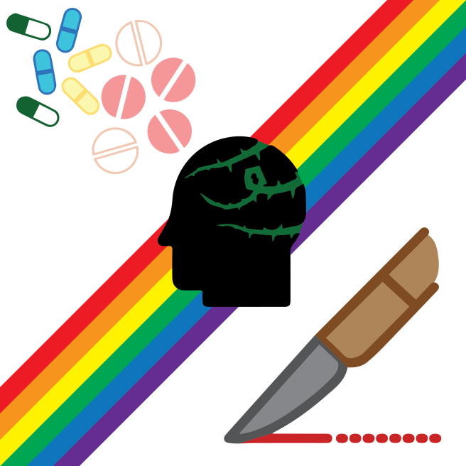 A collage of several icons. In the upper left corner, there is a collection of pink, blue, white, yellow, and green pills. In the middle of the image, there is an outline of a human head with vines creeping over it. In the lower right corner, there is a knife leaving a red trail behind it. Running from the upper right to lower left corner is a rainbow stripe.