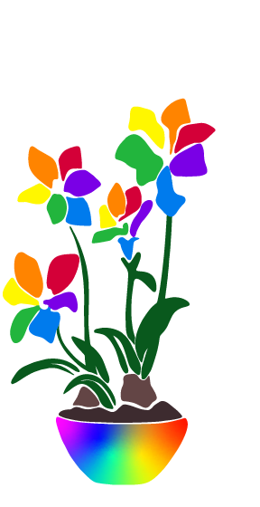 a drawing of rainbow flowers in a rainbow bowl